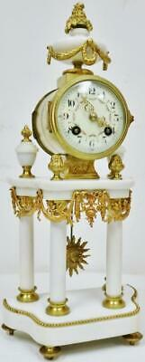 Antique French 8 Day Bronze & White Marble Portico Bell Striking Mantel Clock