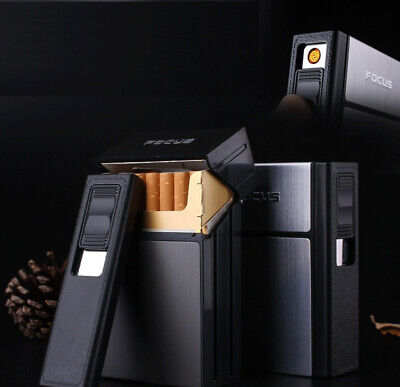 Cigarette Case Dispenser Tobacco Storage Box Holder with Windproof USB Lighter