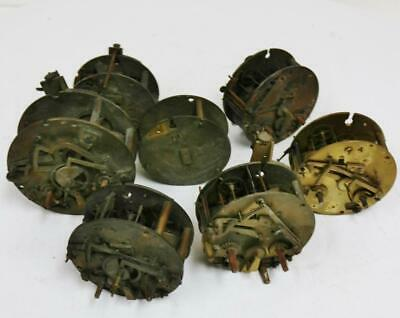 7 x Antique French 8 Day Clock movements spares repairs, Timepiece & Striking