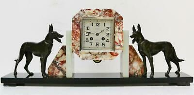 Antique French 8 Day Art Deco Mantel Clock  Dog Figures Bell Strike Mantel Clock