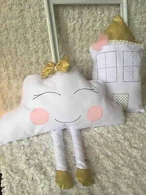 House and cloud Shape Cushion Pillow Decorative Baby Nursery Kids Bedroom Gift