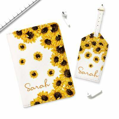 Sunflowers Leather Passport Wallet Cover Floral Flowers Travel Set Luggage Tag