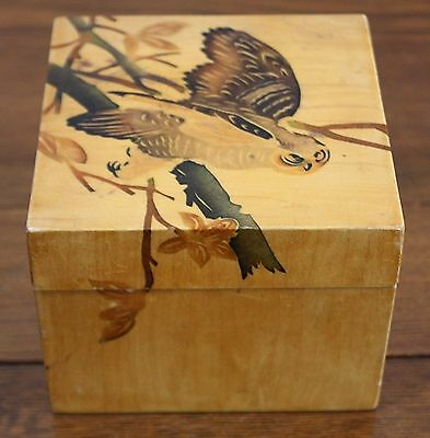 Inlaid Wood Oriental Handmade Veneer Wood Vtg Owl Tree Mod Jewelry Trinket Box