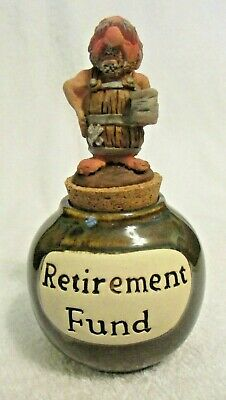 "Retirement Fund Pottery Canister with A Man In A Barrel Cork Lid - 5"" Tall"