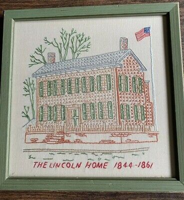 Abe Lincoln Home 1844-1861 Embroidered Picture Framed