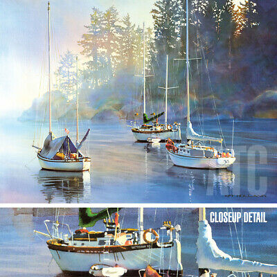 "40W""x30H"" SERENITY by KIFF HOLLAND - CALM SAILBOATS FISHING CHOICES of CANVAS"