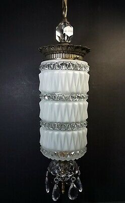 Vtg Hanging Lamp Swag Light Ornate Globe Glass Prisms Rewired Hollywood Regency