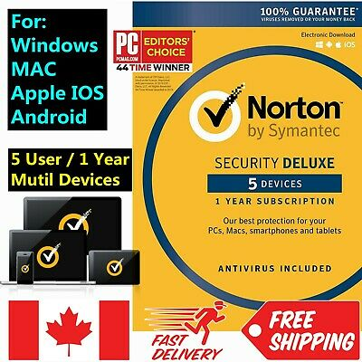 Norton Security Deluxe 5 Devices 1 Year 2019 iOS Androd Fast Send @ ebay message