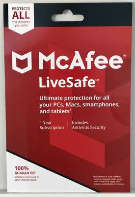 MCAFEE LIVESAFE 2019 -  FOR UNLIMITED DEVICES  - Windows Mac Android - DOWNLOAD