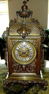 **Antique Nineteenth Century H & F Paris French Brass Figural Clock**
