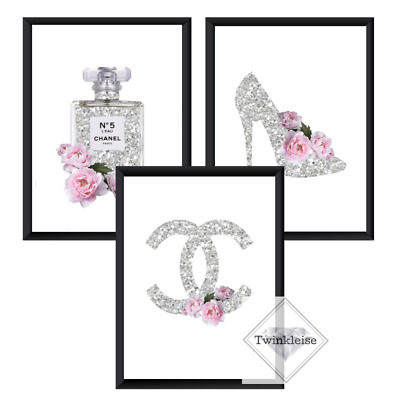Set of 3 Fashion Inspired Perfume and Faux Glitter Effect Art Pictures
