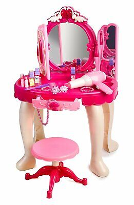 Pink Princess Make Up Vanity Table For Little Girls with Sound and Light