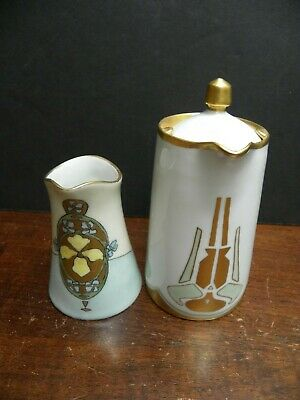 An Arts & Crafts Porcelain Syrup Dispenser & An Art Nouveau Creamer Germany