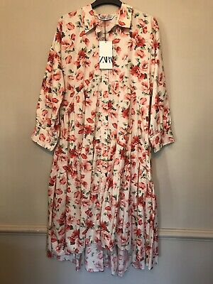 Bnwt Zara Beige And Pink Floral Shirt Dress With Ruffled Hem Size M