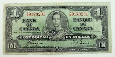 1937 Bank of Canada $1.00 Banknote - King George VI - F Condition