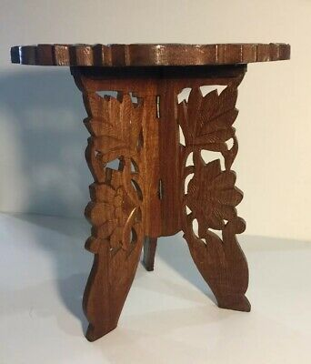 Vintage Wood Carved Plant Stand With 3 Leg Fold Up And Removable Top -Gardening