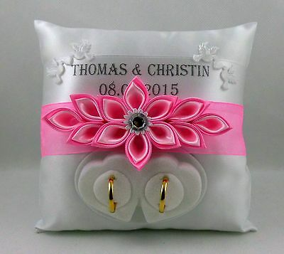 Ringpillow with Name Date, Box for Wedding Ring Choice of Colours Exclusive