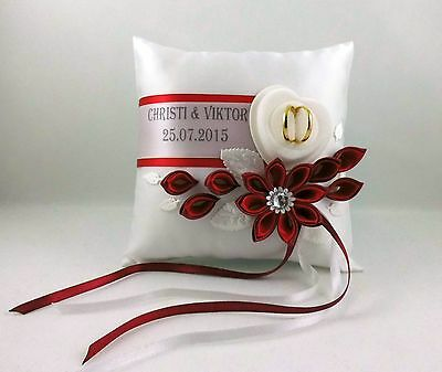 Ringpillow with Name Date Box for Rings. Choice of Colours Exclusive Brautkissen