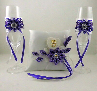 Champagne Glasses + Ringpillow with Name and Date Colour Selection Set