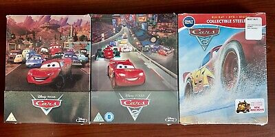 Cars Trilogy 1,2,3 Limited Edition Steelbook (Blu-ray/DVD 3-Disc) Factory Sealed