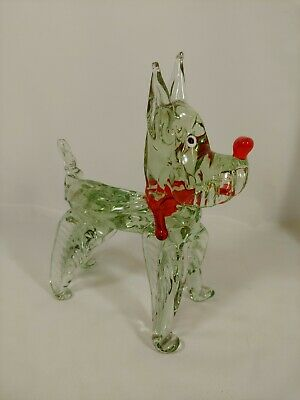Crystal Hand Blown Glass Decorative Dog Statue Figurine Paperweight