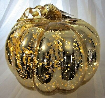 """Led Lighted Gold Mercury Blown Glass Pumpkin X-Large 10"""" 6-lb Batteries Included"""