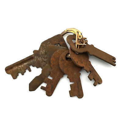 Six Vintage French Padlock Keys Rusty Iron Antique Skeleton Pad Lock Keys