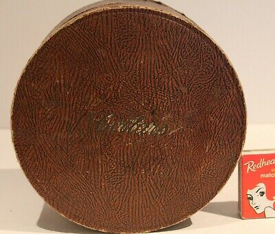 Antique Collar Box Brown Leather Cardboard Round Lid Collars Shabby Vintage