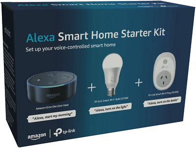 Amazon Alexa Smart Home Starter Kit Echo Dot Gen2 with WiFi Bulb + Wall Plug NEW