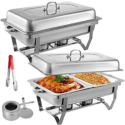 4x  LARGE twin chafing dish chaffing warmer tray buffet party 8.5L catering dual warmer Restaurant & Food Service
