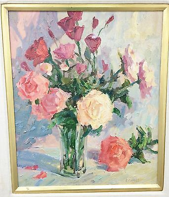 Original Robert Moore Garden Floral Oil on Board Painting 20x24 Signed Framed