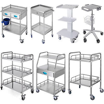 Rolling Storage Cart Medical Salon Trolley Pedestal Rolling Cart Stainless Steel