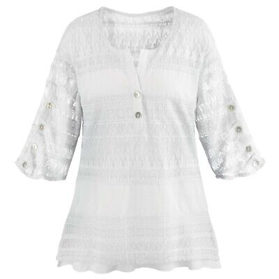 Ashwood/Cotton Connection Women's Tunic Top - Textured Lacey Tiers Blouse
