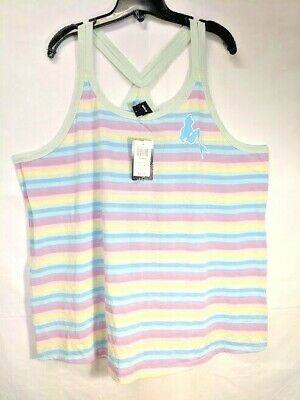 Hot Topic Disney Little Mermaid Ariel Pastel Rainbow Racerback Tank Top NWT 4X