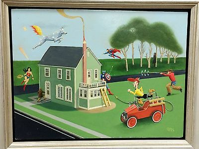 """Gerald Purdy """"Fantastic Finish"""" Superheroes Oil on Panel  9 x 11 Framed Signed"""
