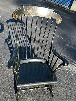 Vintage S. BENT & BROS Silid WoodvBlack Stenciled Colonial Rocking  Chair in CT