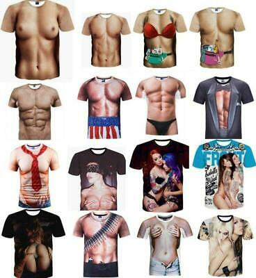 Funny 3D Chest Printing Casual T-shirt  Men Women  Graphic Tops Tee S-5XL