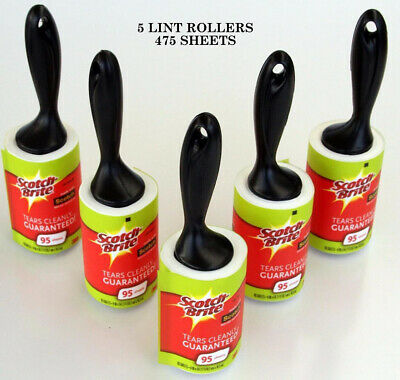 5X 3M Scotch Brite Lint Roller 95 Sticky Sheets Fluff Pet Hair Dust Remover Roll
