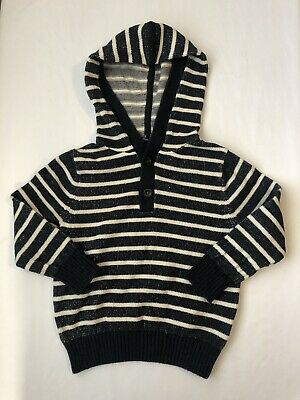 Baby Gap Toddler Boy Hooded Striped Knit Long Sleeve Top Size 3 Years