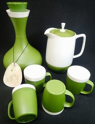 AccaWare Avocado Green Plastic Genie Server Carafe Cups Coffee Pot David Douglas