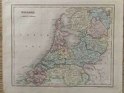 1845 Holland Original Antique Hand Coloured Map By John Dower 174 Years Old