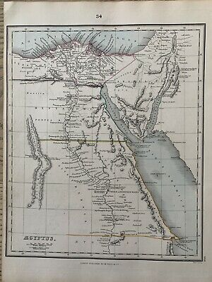 1853 Ancient Egypt Original Antique Hand Coloured Map By Alexander Findlay