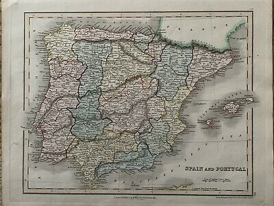 1845 Spain & Portugal Antique Hand Coloured Map By John Dower 174 Years Old