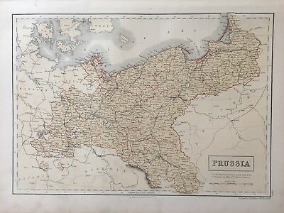 1858 Prussia Large Original Antique Map By Adam & Charles Black 160 Years Old