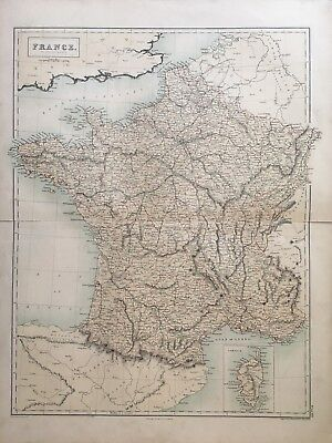 1858 France In Departments Large Antique Map By A & C Black 160 Years Old
