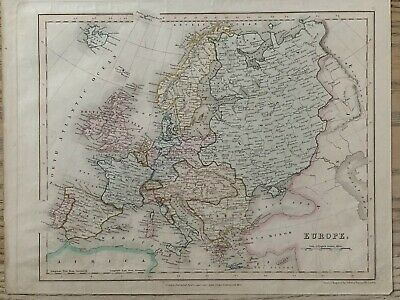 1845 Europe Original Antique Hand Coloured Map By John Dower 174 Years Old