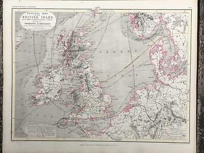 1849 British Isles Physical Map By John Dower Original Antique 169 Years Old