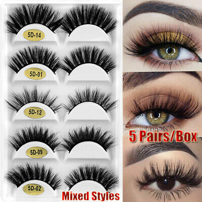 5104594a9d9 SKONHED 5 Pairs Mixed Styles 3D Mink Hair False Eyelashes Wispy Fluffy  Lashes~