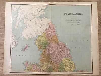 1864 Northern England & Wales Large Hand Coloured Antique Map By George Philip