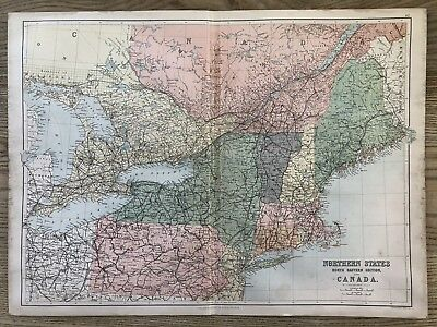 1884 Northeastern United States Large Antique Map By Bartholomew & A & C Black